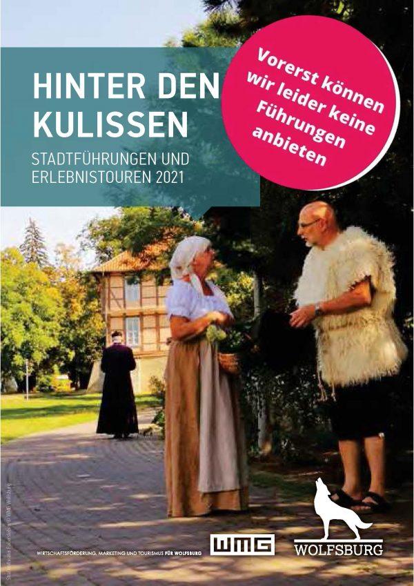 """Das Bild zeigt das Cover der Broschüre """"Hinter den Kulissen. Stadtführungen und Erlebnistouren"""""""