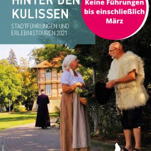 Das Bild zeigt das Titelbild der Broschüre Hinter den Kulissen, Stadtführungen und Erlebnistouren 2021