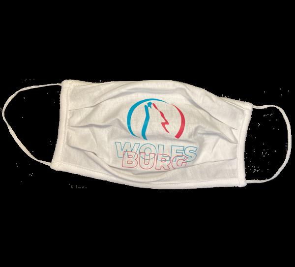 Das Bild zeigt eine weiße Alltagsmaske mit Wolfsburg Logo-Print in petrol und candy.