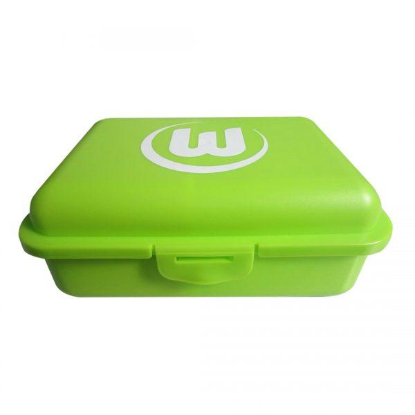Das Foto zeigt die grüne Brotdose BIO mit aufgedrucktem Logo des VfL Wolfsburg.