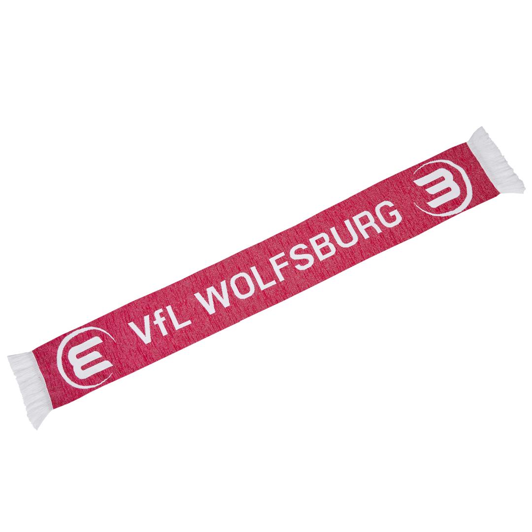 Das Bild zeigt einen Damen-Schal des VfL Wolfsburg in der Farbe rosa.