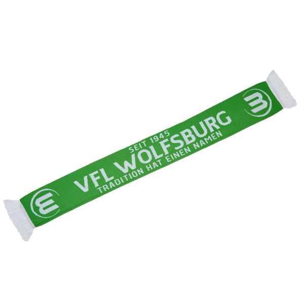 """Das Bild zeigt den grün-weißen Fanschal """"Tradition"""" des VfL Wolfsburg."""