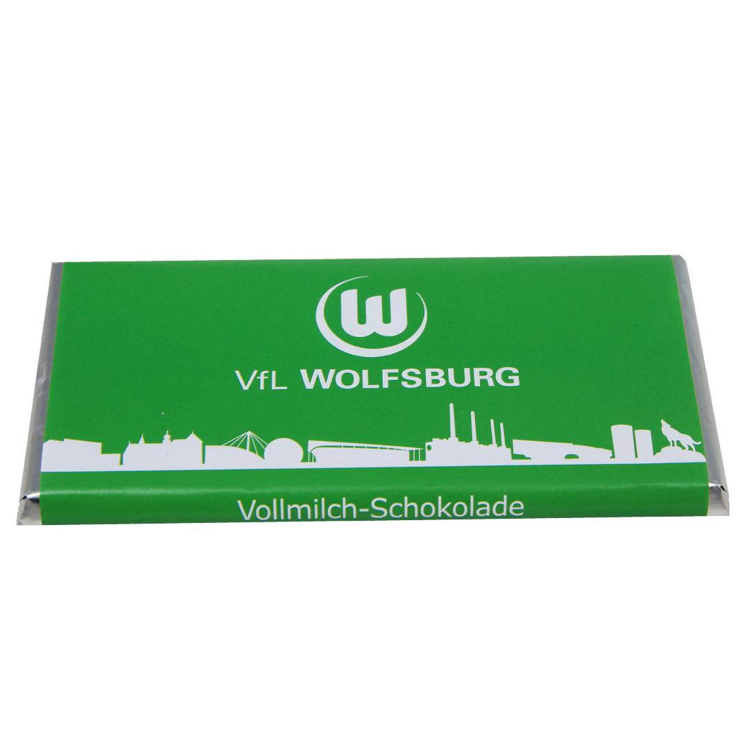 Das Bild zeigt eine Schokoladentafel vom VfL Wolfsburg.