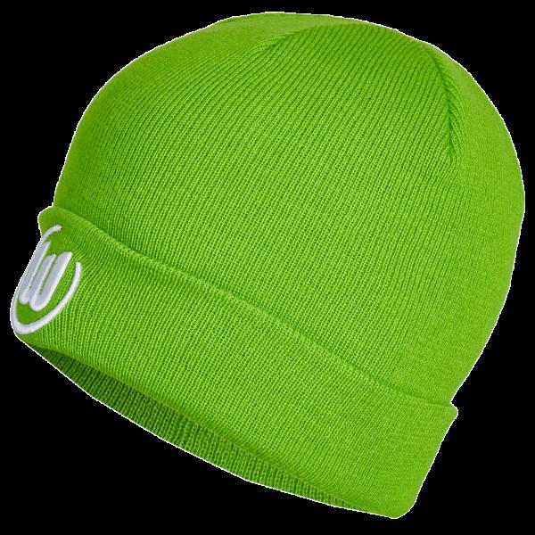 Das Bild zeigt eine grüne Kindermütze vom VfL Wolfsburg mit aufgesticktem Logo