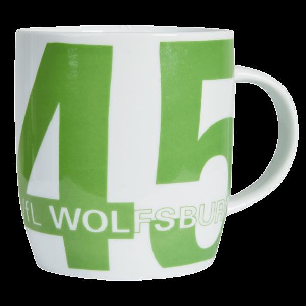 """Das Bild zeigt eine Tasse vom VfL Wolfsburg mit dem Motiv """"Gründungsjahr""""."""