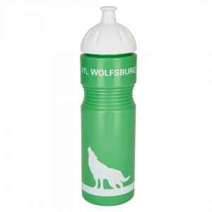 Das Foto zeigt eine Kunststoff-Trinkflasche vom VfL Wolfsburg in grün.