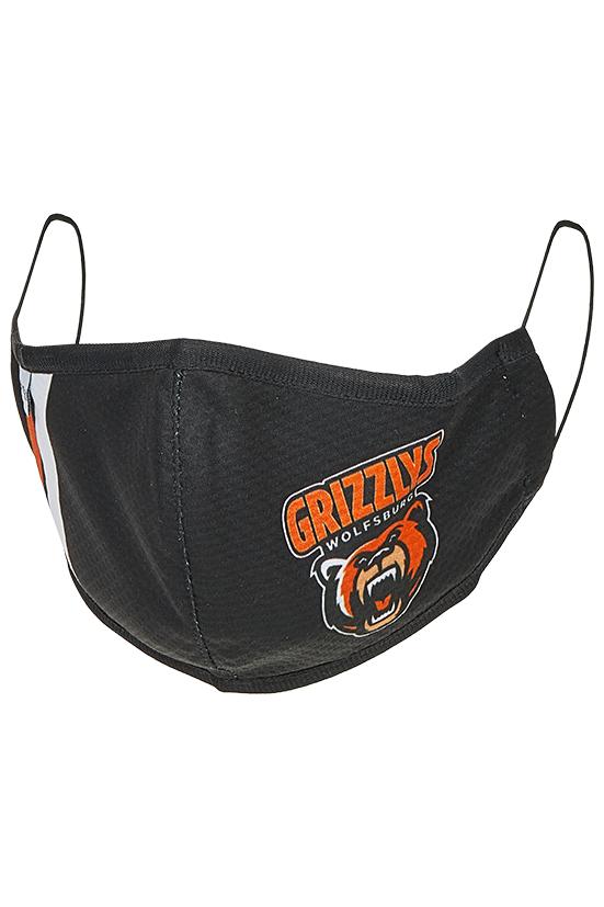 Das Foto zeigt eine Mund-Nasen-Maske der Grizzlys Wolfsburg in schwarz mit Logo-Aufdruck.