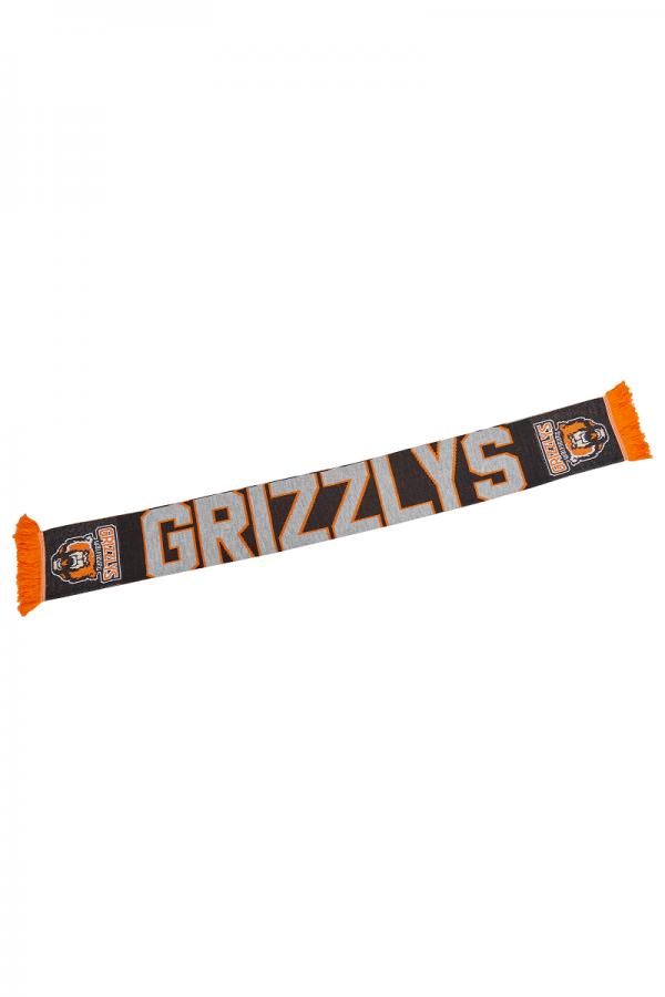 Das Bild zeigt einen Fanschal der Grizzlys Wolfsburg in den Vereinsfarben.