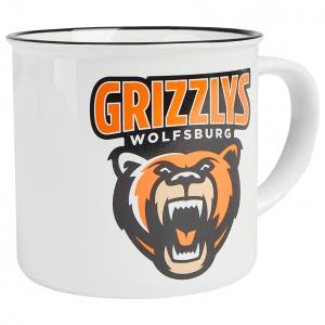 Das Foto zeigt eine weiße Tasse der Grizzlys Wolfsburg mit Logo-Aufdruck.