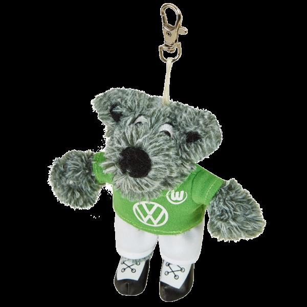 Das Bild zeigt den Plüsch-Schlüsselanhänger Wölfi vom VfL Wolfsburg.