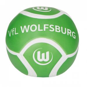 Das Bild zeigt einen grün-weißen Kinder-Knautschball vom VfL Wolfsburg.