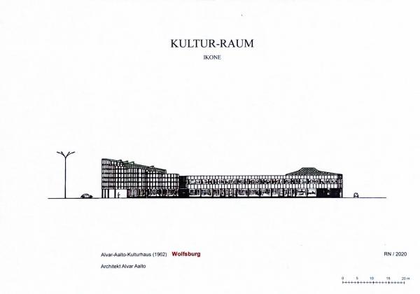 Das Bild zeigt die Postkarte Kultur-Raum, Ensemble von Ikonen, mit dem Motiv Alvar Aalto Kulturhaus.