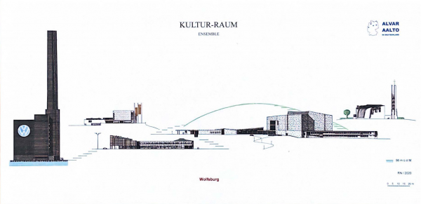 """Das Foto zeigt eine Postkarte aus der Reihe """"Kultur-Raum. Ensemble von Ikonen"""" mit dem Motiv """"Ensemble"""" und eine Übersicht der architektonischen Ikonen Wolfsburgs."""