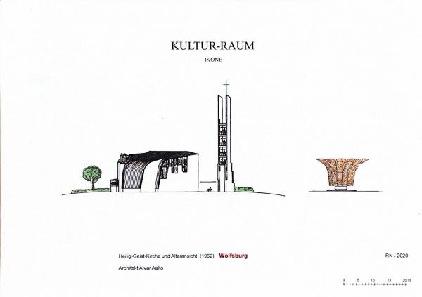 Das Bild zeigt die Postkarte Kultur-Raum, Ensemble von Ikonen, mit dem Motiv Heilig Geist Kirche.
