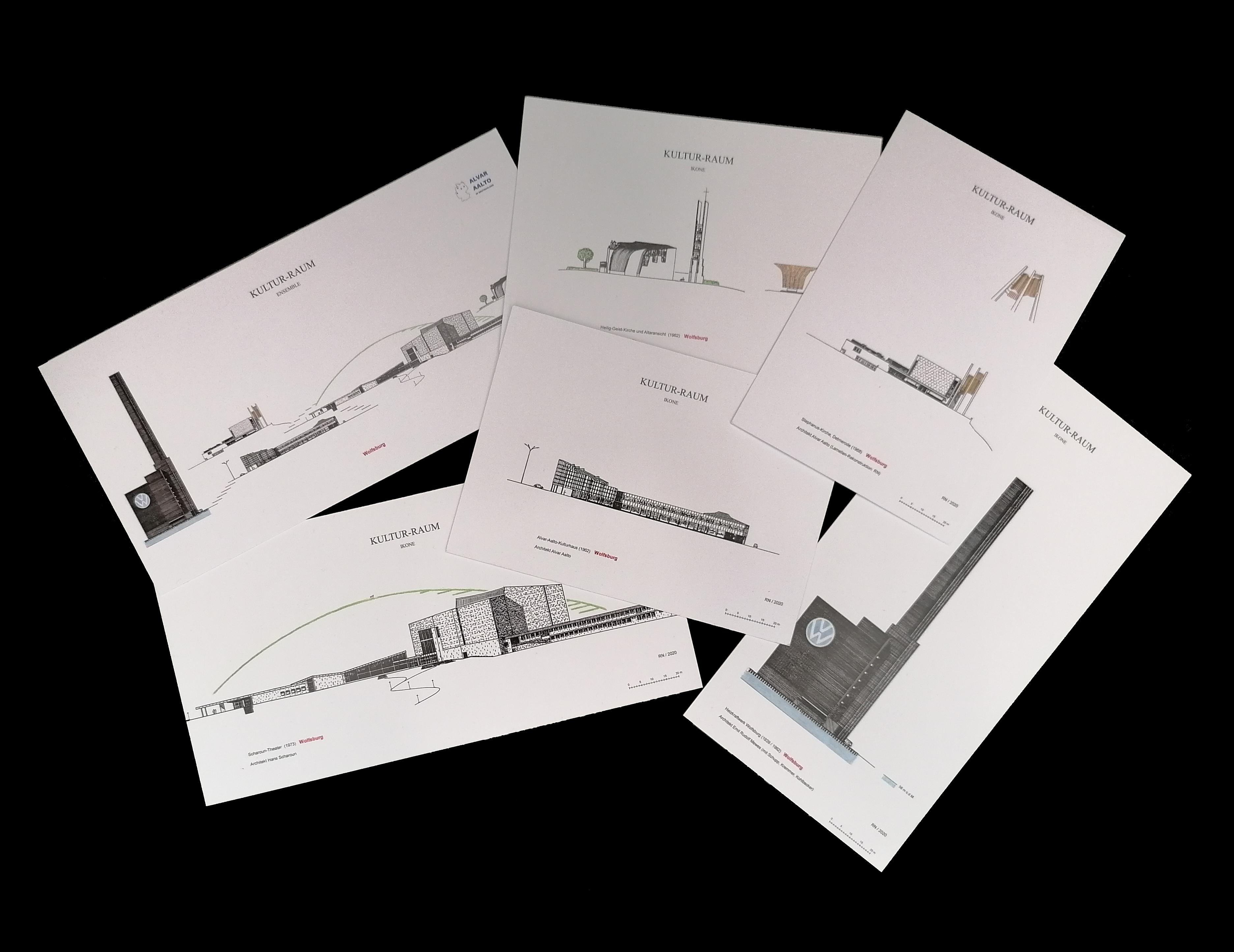 Das Bild zeigt ein 6er-Postkarten-Set der Reihe Kultur-Raum Ikonen mit Zeichnungen architektonischer Ikonen in Wolfsburg.