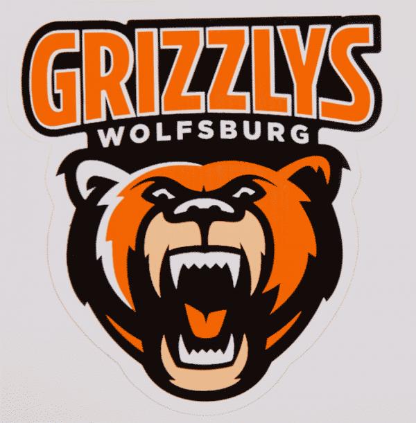 Das Bild zeigt einen circa 5 Zentimeter großen Aufkleber mit Logo der Grizzlys Wolfsburg.
