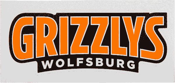 Das Bild zeigt einen Aufkleber mit dem Schriftzug der Grizzlys Wolfsburg.