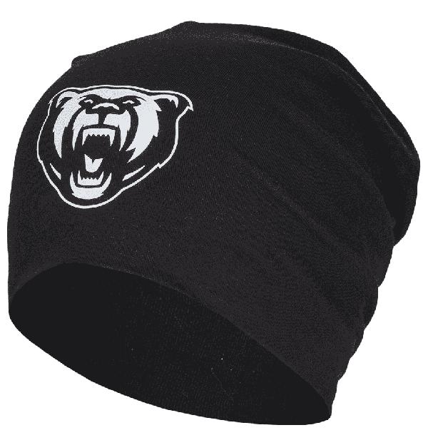 Das Bild zeigt eine schwarze überlange Mütze mit einem gedruckten Logo der Grizzlys Wolfsburg.