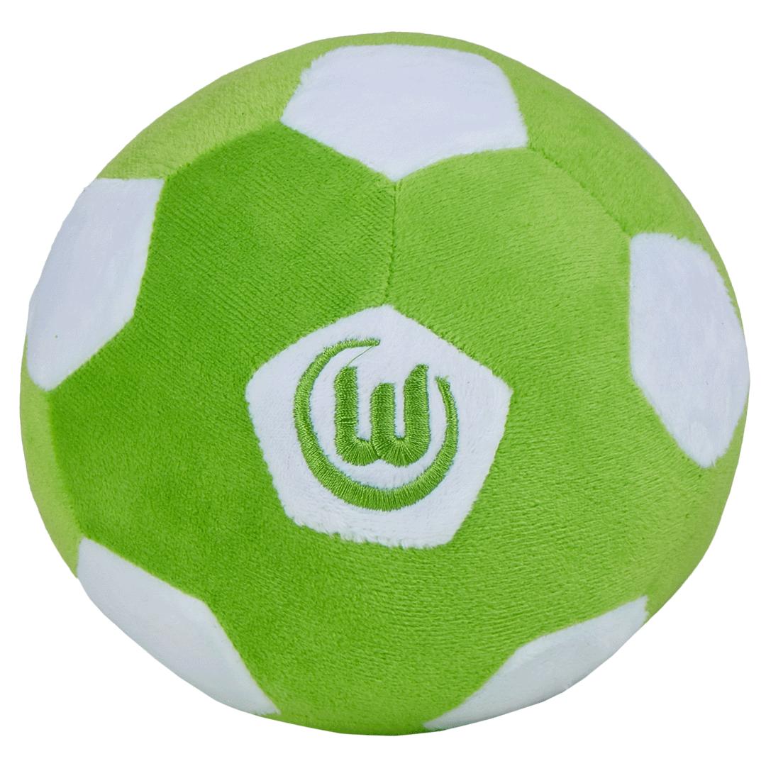Das Foto zeigt einen grün-weißen Plüschball des VfL Wolfsburg.